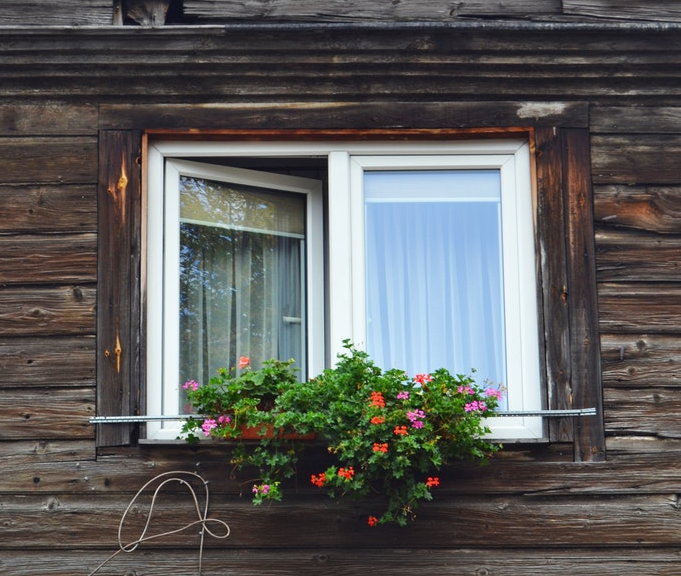 half-open glass window house